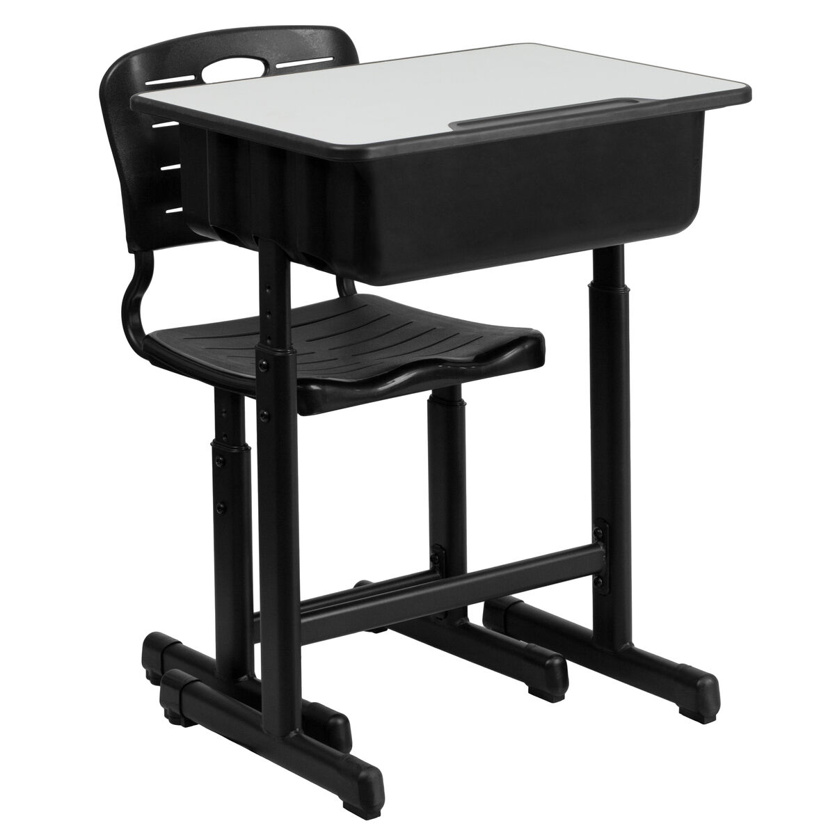 Our Adjule Height Student Desk And Chair With Black Pedestal Frame Is On Now