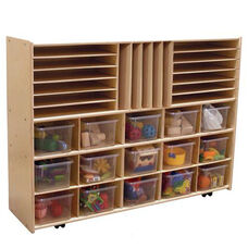 Multi-Shaped Baltic Birch Plywood Storage Unit with 15 Clear Cubbie Trays - Assembled with Casters - 46.75