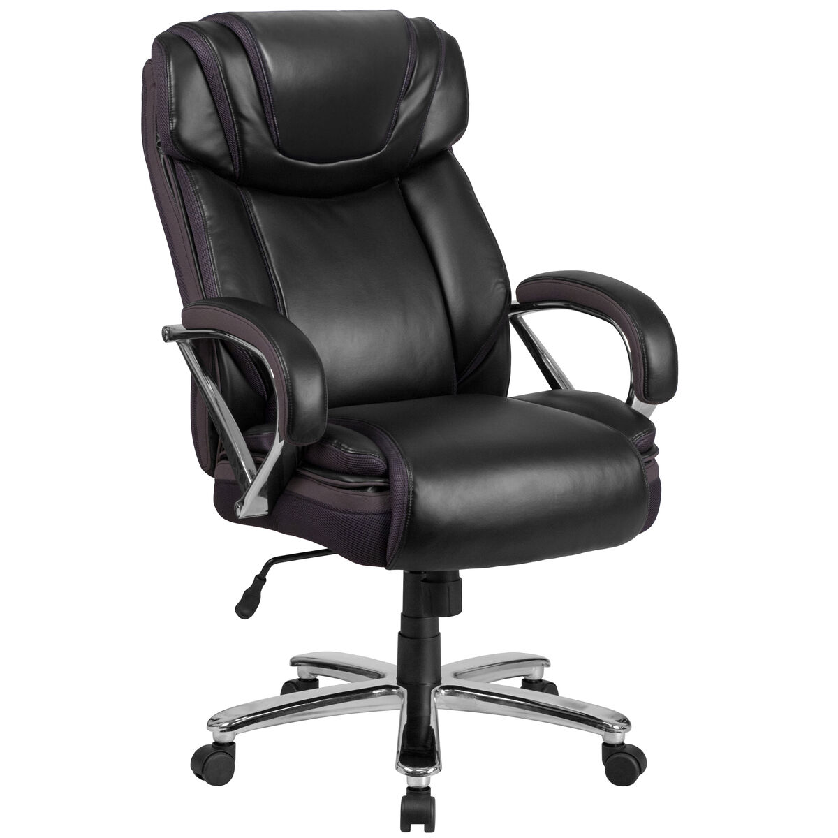 Rated Black Leather Executive Swivel Chair With