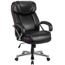 HERCULES Series Big & Tall 500 lb. Rated Black Leather Executive Swivel Ergonomic Office Chair with Extra Wide Seat