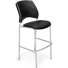 Stars Cafe Height Vinyl Seat Chair with Silver Frame - Black