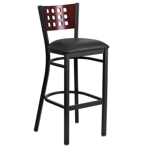 Our Black Decorative Cutout Back Metal Restaurant Barstool with Mahogany Wood Back & Black Vinyl Seat is on sale now.