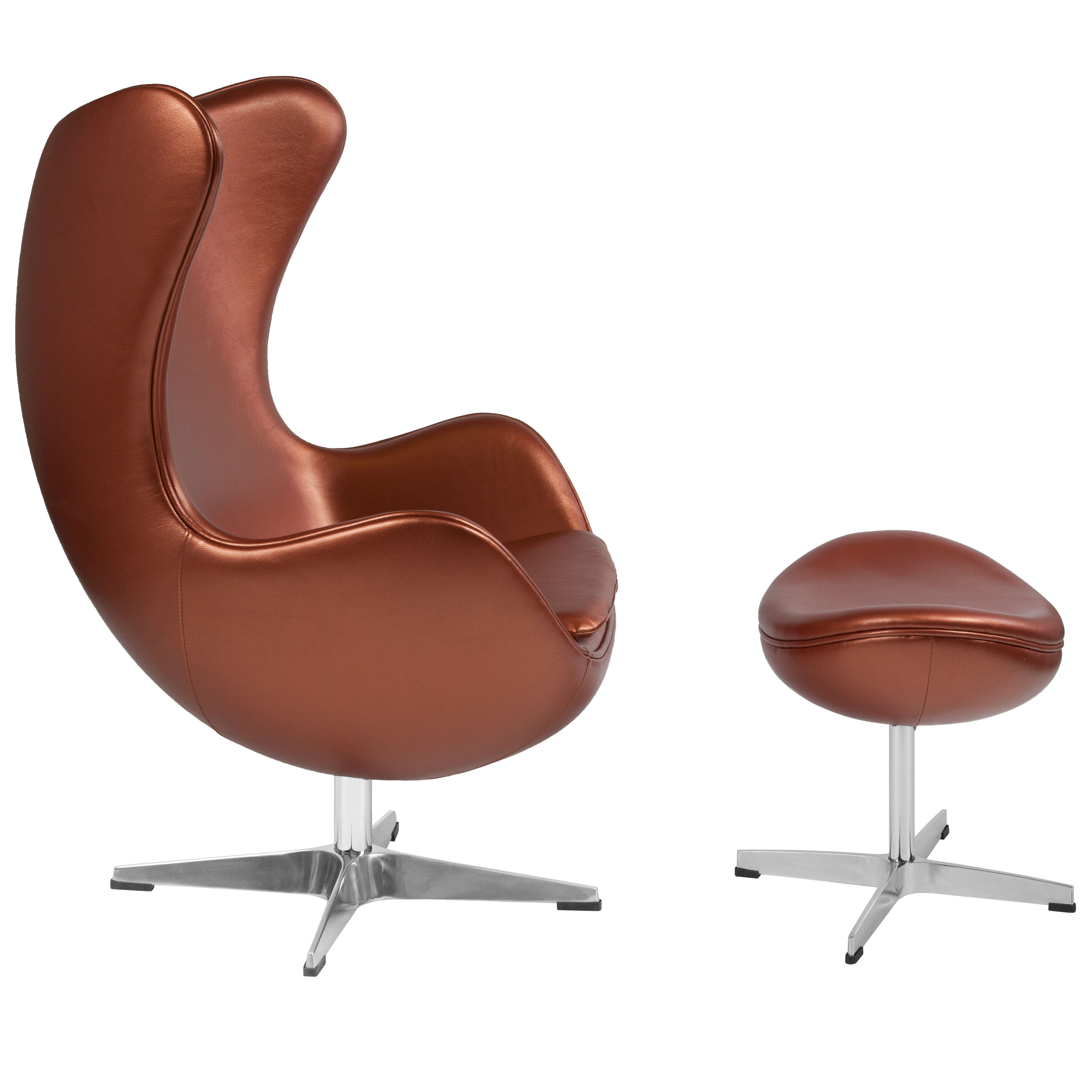 ... Our Copper Leather Egg Chair With Tilt Lock Mechanism And Ottoman Is On  Sale Now ...