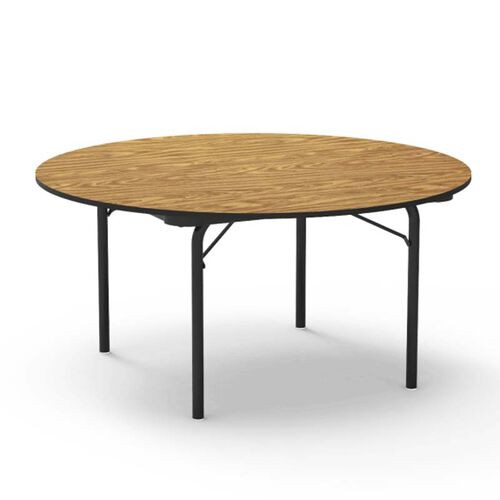 Our 6000 Series Traditional Round Folding Laminate Table with Medium Oak Top and Black Frame - 60