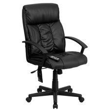 High Back Ergonomic Massaging Black Leather Executive Swivel Office Chair with Side Remote Pocket and Arms