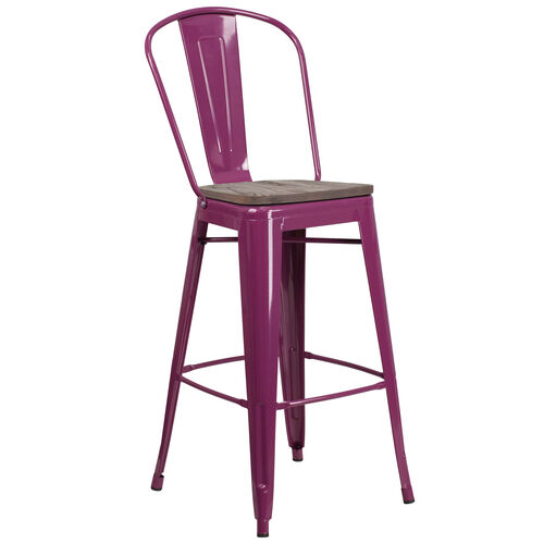 """Our 30"""" High Purple Metal Barstool with Back and Wood Seat is on sale now."""