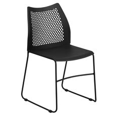 HERCULES Series 661 lb. Capacity Black Sled Base Stack Chair with Air-Vent Back