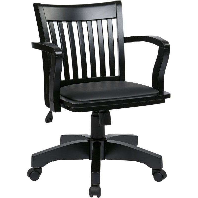 Charmant ... Our OSP Designs Deluxe Wood Bankeru0027s Chair With Black Vinyl Padded Seat    Black Is On ...