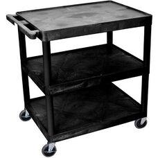 3 Shelf Structural Foam Plastic Utility Cart - Black - 32