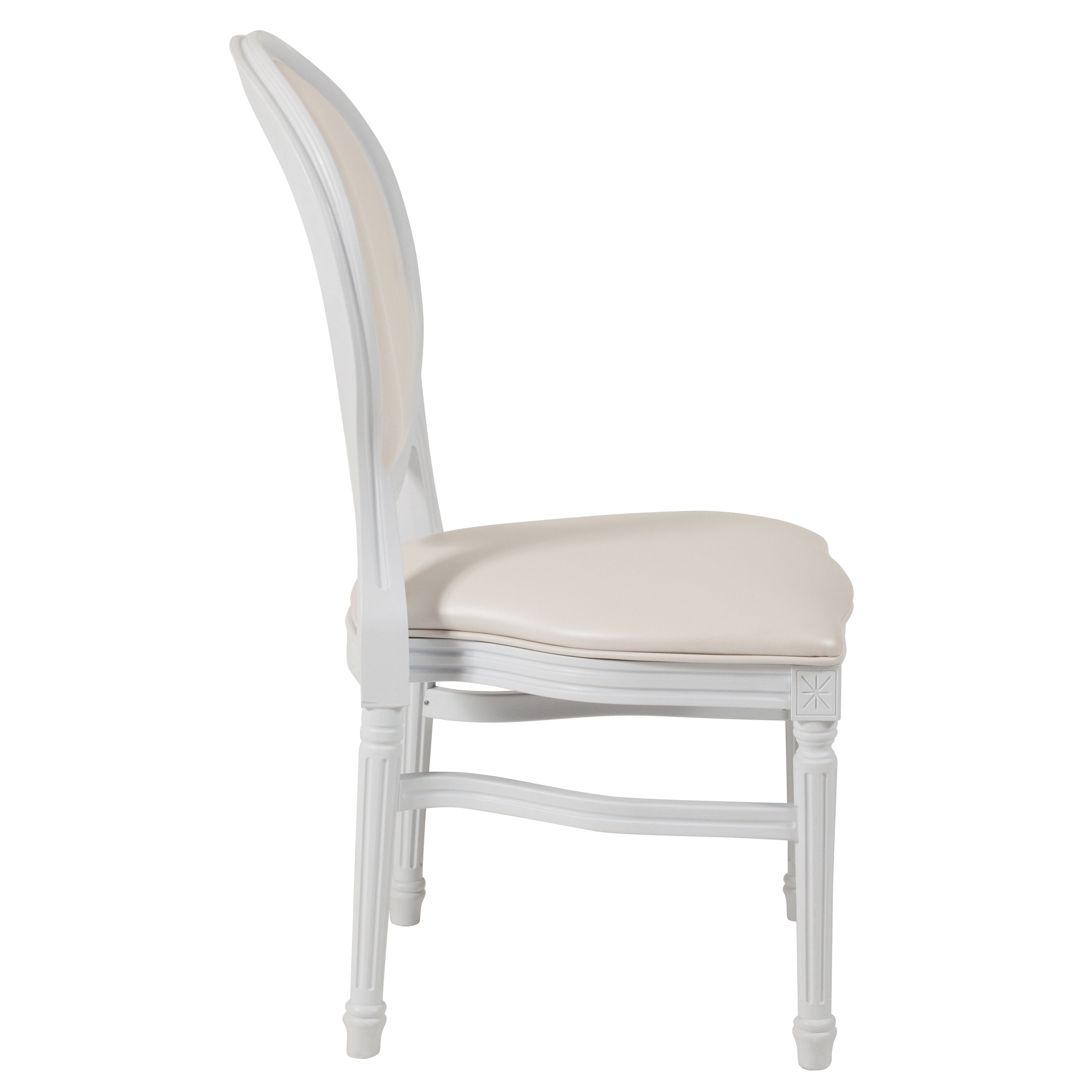 Capacity King Louis Chair With White Vinyl Back And Seat ...