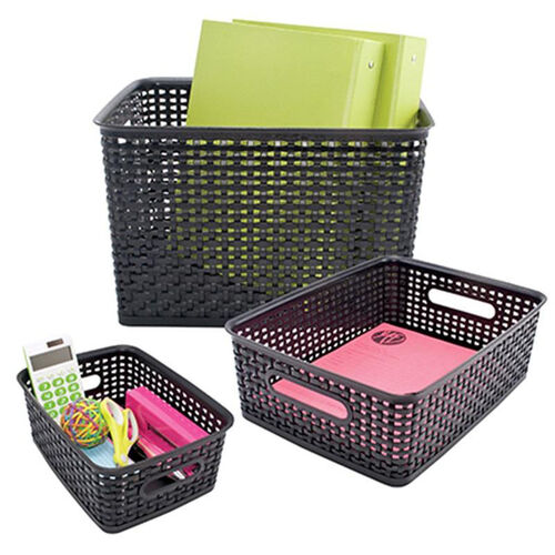 Our Advantus Plastic Weave Designed Desk Storage Bins in Assorted Sizes - Set of Three - Black is on sale now.