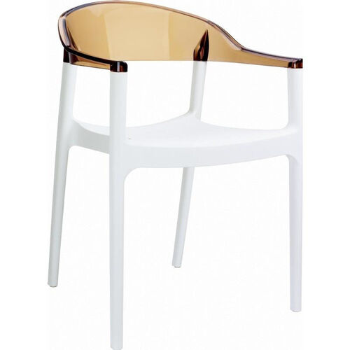 Carmen Modern Polypropylene Stackable Dining Arm Chair with Transparent Amber Back - Glossy White
