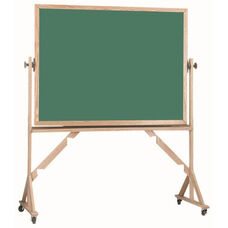 Reversible Free Standing Green Chalkboard with Red Oak Frame - 48''H x 72''W