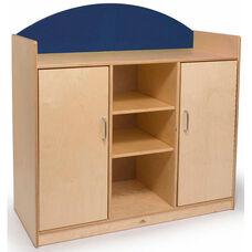 Rainbow Storage Cabinet with 2 Open Shelves and 2 Closed Doors and Blue Backboard Accent