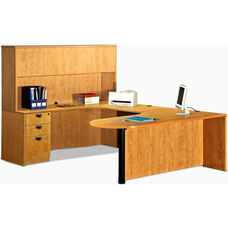 Left Curvilinear U-Group Executive Suite with D-Top and Hutch