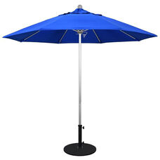 9 Ft. Market Umbrella with Push Lift and Single Wind Vent - Silver Aluminum Pole