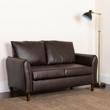 Milton Park Upholstered Plush Pillow Back Loveseat in Brown LeatherSoft