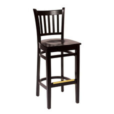 Delran Black Wood Slat Back Barstool - Wood Seat