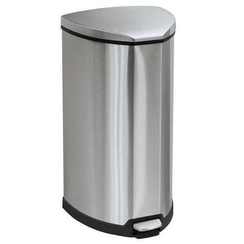 Our Safco® Step-On Waste Receptacle - Triangular - Stainless Steel - 10gal - Chrome/Black is on sale now.