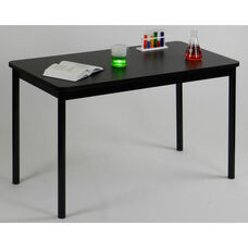 High Pressure Laminate Rectangular Lab Table with Black Base and T-Mold - Black Granite Top - 24