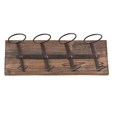 Saxon Oak Wood and Iron Wall Mounted Wine Storage with 4 Bottle Holders - Weathered Oak
