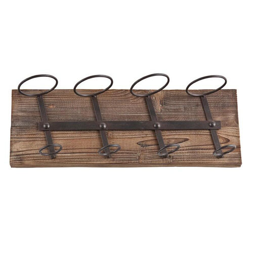 Our Saxon Oak Wood and Iron Wall Mounted Wine Storage with 4 Bottle Holders - Weathered Oak is on sale now.