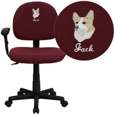 Embroidered Mid-Back Burgundy Fabric Swivel Task Chair with Adjustable Arms