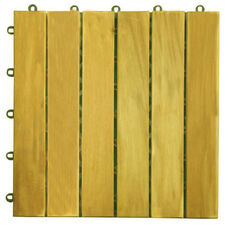 Outdoor Patio 6-Slat Acacia Interlocking Deck Tile - Set of 10