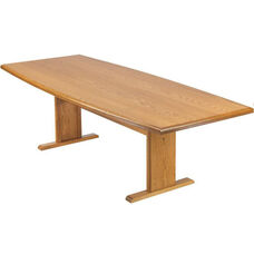 Contemporary Series Wood Conference Boat Table with Trestle Base