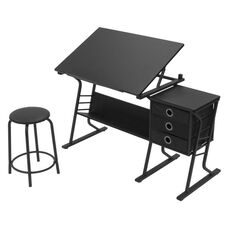 Eclipse Contemporary Craft and Storage Center with Stool - Black
