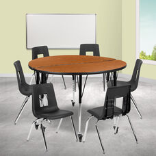 """Mobile 47.5"""" Circle Wave Collaborative Laminate Activity Table Set with 18"""" Student Stack Chairs, Oak/Black"""