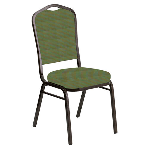 Our Embroidered Crown Back Banquet Chair in Mainframe Basil Fabric - Gold Vein Frame is on sale now.