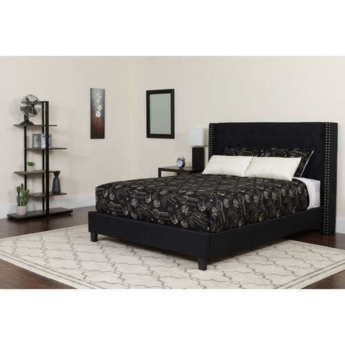 Our Riverdale Full Size Tufted Upholstered Platform Bed in Black Fabric with Memory Foam Mattress is on sale now.