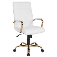 High Back White LeatherSoft Executive Swivel Office Chair with Gold Frame and Arms