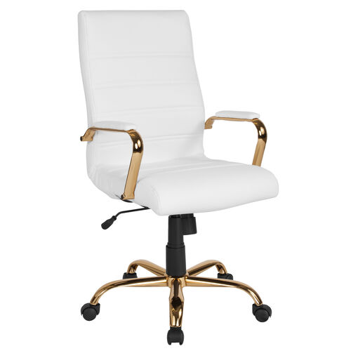 Our High Back White LeatherSoft Executive Swivel Office Chair with Gold Frame and Arms is on sale now.