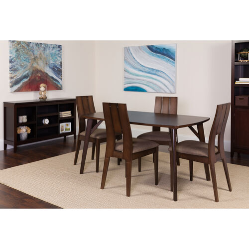 Our Anderson 5 Piece Espresso Wood Dining Table Set with Curved Slat Keyhole Back Wood Dining Chairs - Padded Seats is on sale now.
