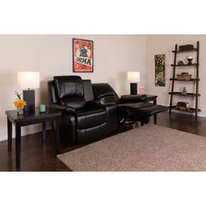 Allure Series 2-Seat Reclining Pillow Back Black LeatherSoft Theater Seating Unit with Cup Holders