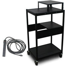 Vizion Spartan Series Classroom Media Projector Cart with One Pull-Out Side-Shelf and Expansion Shelf with Eight Outlet Electrical Unit- Black