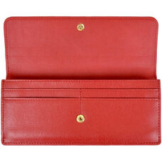 RFID Blocking Clutch - Saffiano Genuine Leather - Red