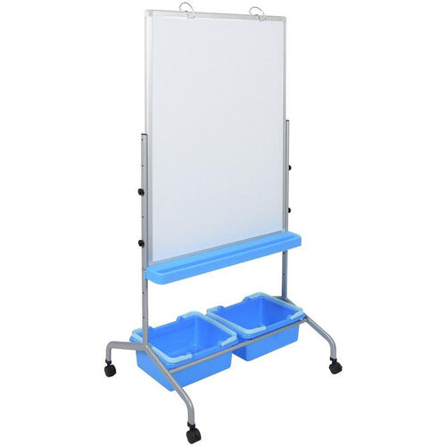 Rolling Whiteboard Learning Center with Two Blue Storage Bins - White - 31