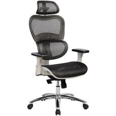 Techni Mobili Deluxe High Back Mesh Office Executive Chair with Neck Support - Black