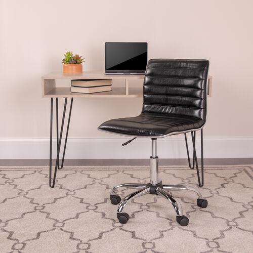 Low Back Designer Armless Ribbed Swivel Task Office Chair