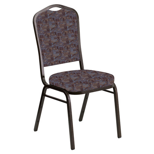 Our Embroidered Crown Back Banquet Chair in Perplex Fabric - Gold Vein Frame is on sale now.