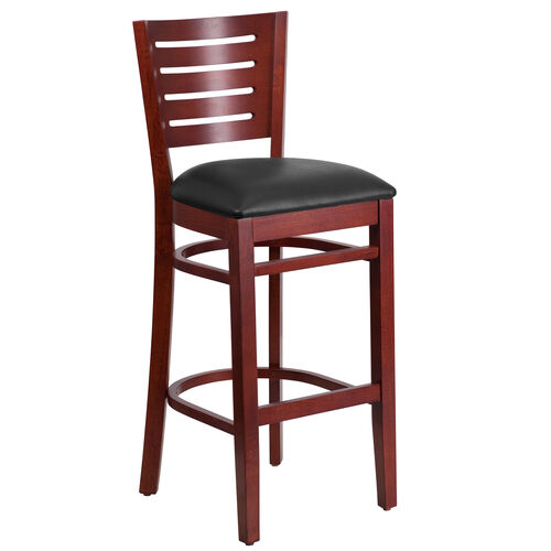 Our Mahogany Finished Slat Back Wooden Restaurant Barstool with Black Vinyl Seat is on sale now.