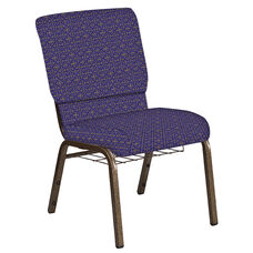 Embroidered 18.5''W Church Chair in Abbey Jazz Fabric with Book Rack - Gold Vein Frame