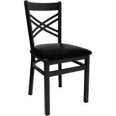 Akrin Metal Cross Back Chair - Black Vinyl Seat