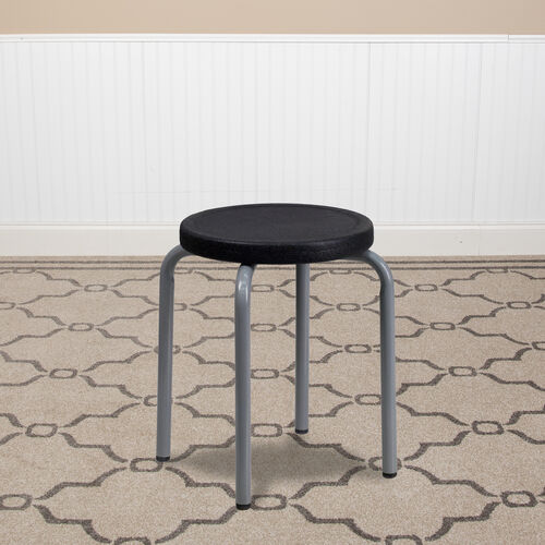 Our Stackable Stool with Black Seat and Silver Powder Coated Frame is on sale now.