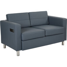 Work Smart Atlantic Loveseat with Dual Charging Station - Dillon Blue