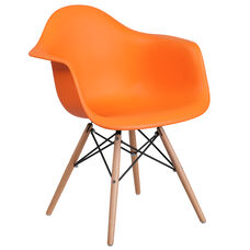 Alonza Series Orange Plastic Chair with Wood Base