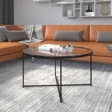 Greenwich Collection Coffee Table - Modern Clear Glass Accent Table with Crisscross Matte Black Frame